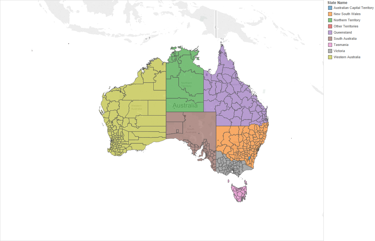 Australian region boundaries in Tableau – Show Map of Australia